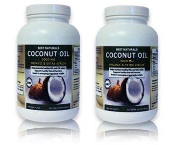 Best Naturals Coconut Oil, Organic & Extra Virgin 3000 Mg, 180 Soft Gels (Pack of (Best Naturals Coconut Oils)
