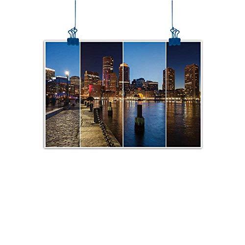 Sunset glow Decorative Art Print American,Boston Skyline Day and Night Cityscape Skyscraper Reflection in Water Metropolis,Multicolor 24
