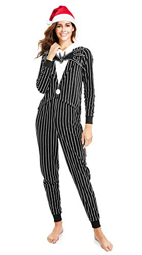Nightmare Before Christmas Jack Skellington Unionsuit Pajama with Silky Santa Hat -