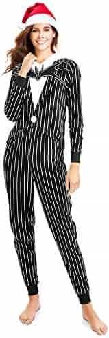 fbc0811fa Nightmare Before Christmas Jack Skellington Unionsuit Pajama with Silky  Santa Hat