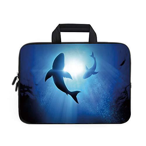 Funda de neopreno para portátil con diseño de tiburón y aleta de tiburón para asustar a los depredadores, decoración del...