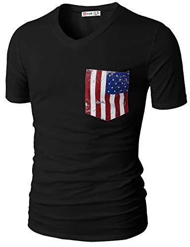 H2H Men Fashion V-Neck Short Sleeve T-Shirts with American Flag Chest Pocket Black US M/Asia L (CMTTS0173)