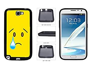Bright Yellow Sad with Tear Face TPU RUBBER SILICONE Phone Case Back Cover Samsung Galaxy Note II 2 N7100