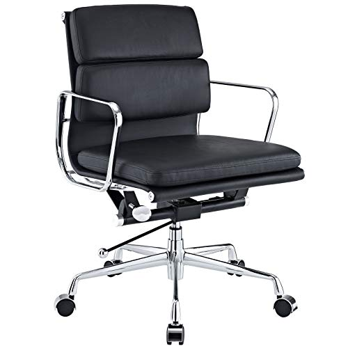 Chairs Designer Italian Office - LIVING TRENDS Soft Pad Mid-Back Office Chair - Top Grain Italian Leather Aluminum Frame - Black