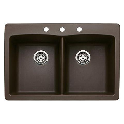 Blanco 440218-3 Diamond 3-Hole Double-Basin Drop-In or Undermount Granite Kitchen Sink, Cafe Brown (Brown Granite Kitchen Sinks)