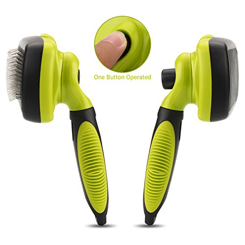Dog Brush Cat Pet Grooming Brush Comb Self Cleaning Slicker Brush Reduces Shedding Up to 90% Removes Tangles De Sheds for Long Medium & Thick Hair Pet Green and Black by Pecute (Image #3)