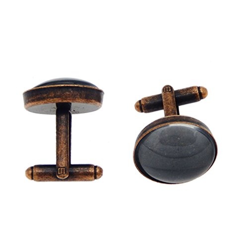Julie Wang 20 pieces Red Copper Brass Cabochon Frame Setting Tray Cufflinks Cuff Links Blank Bezel Trays Blanks with Clear Round Glass Dome Tile Cabochon 18mm