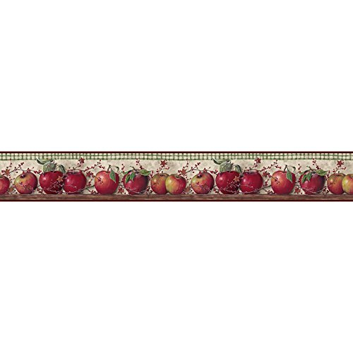 Apple Border - York Wallcoverings BH11-089-001-35 Country Keepsakes Just Apples Wallpaper, Taupe, Green, red, Brown