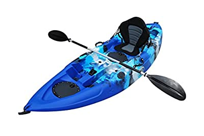 BKC UH-FK184 9' Sit on Top Single Fishing Kayak Seat And Paddle included