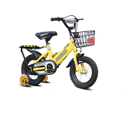 GETTEER 子ども用自転車 自転車 子供用 フラッシュ補助輪付き 格好いい 簡単組み立て式 B07DBNXZ3Rイエロー 14インチ