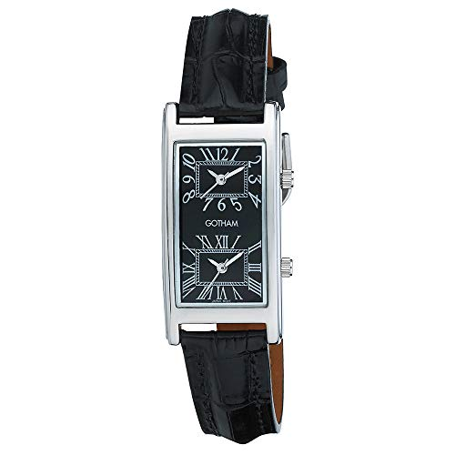 Gotham Unisex Silver-Tone Dual Time Zone Leather Strap Watch # - Dual Time Strap