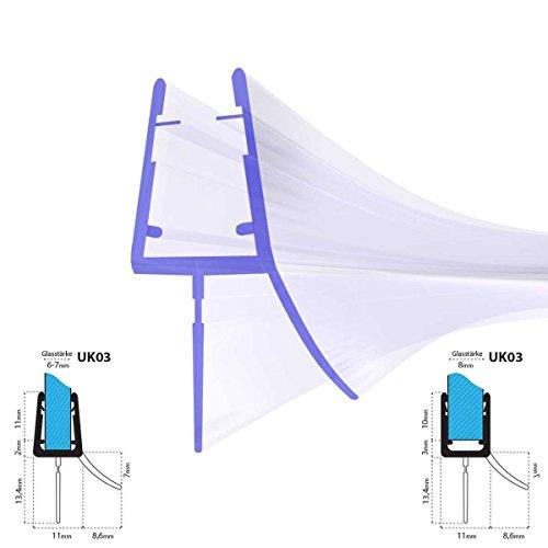 50cm UK03 -- Duschdichtung ABGERUNDET Runddusche Viertelkreisdusche Rundbogen für 6mm/ 7mm/ 8mm Glasdicke Runddichtung Ersatzdichtung vorgebogen KREIS rund