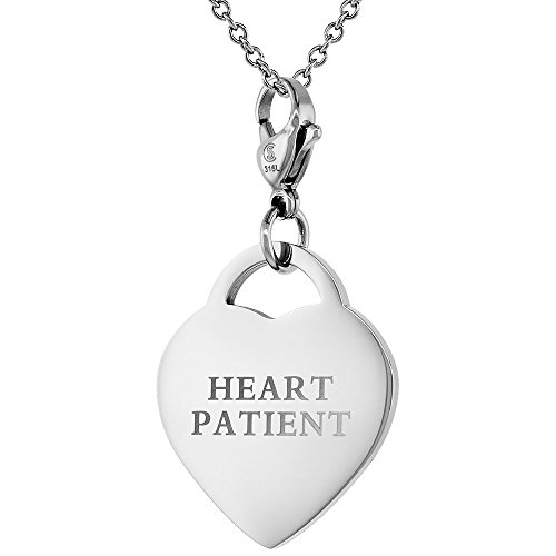 Stainless Steel HEART PATIENT Medical Alert ID Tag with Lobster Clasp Heart Shape 7/8 inch