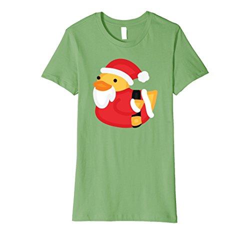 Rubber Duck Costume Ideas (Womens Christmas Duck Shirt - Funny Rubber Santa Duckling T-Shirt Medium Grass)