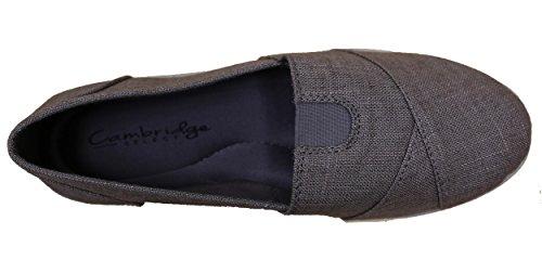 Cambridge Select Slips De Confort En Mousse À Mémoire De Forme Pour Femmes Sur Les Flats Charcoal Linen