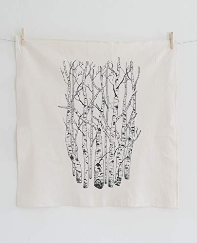 Birch Tree Flour Sack Towel in Black - Woodland Tea Towel - Natural Cotton Kitchen Towel - Eco Friendly Dishcloth