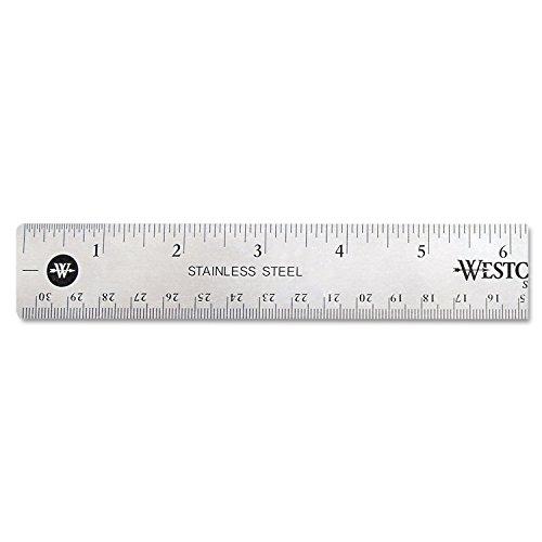 Westcott 10415 Stainless Steel Office Ruler With Non Slip Cork Base, 12'' by Westcott