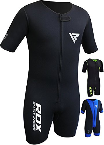 RDX MMA Neoprene Sweat Sauna Suit Shirt Rash Weight Loss Slimmimg Fitness Gym Exercise Training,Black,Large