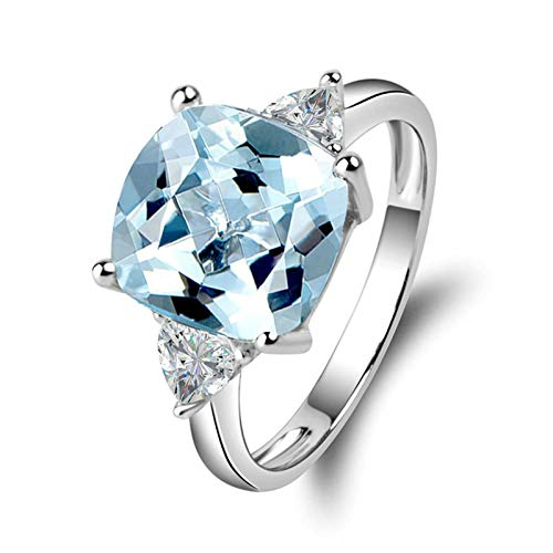 (Adisaer-Women Engagement Ring 925 Sterling Silver Plated Solitaire WH 10X10Mm Square Blue Topaz Ring Size 9)