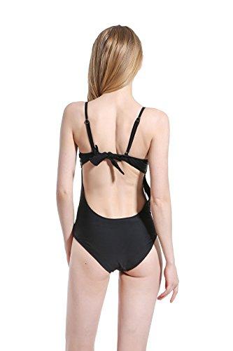 SZH YIBI La Sra traje de baño bikini traje de baño de aguas termales Europa y la protección del medio ambiente Delgado alta elasticidad Estados Unidos Black