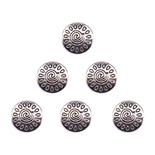 JETEHO 100 Pieces Metal Pattern Flat Beads Loose Spacer Beads Charms for Jewelry Making Findings, Ancient Silver