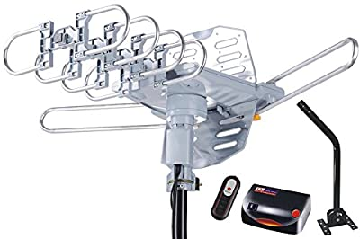 McDuory HDTV Antenna Amplified Digital Outdoor Antenna 150 Miles Range with Mounting Pole - 360 Degree Rotation Wireless Remote - Tools-free installation - UHF and VHF