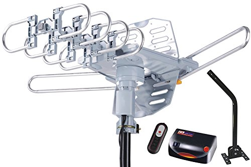 McDuory HDTV Antenna Amplified Digital Outdoor Antenna 150 Miles Range with Mounting Pole - 360 Degree Rotation Wireless Remote - Tools-free installation - Support 2 TVs (Antenna Vhf 6 Db)