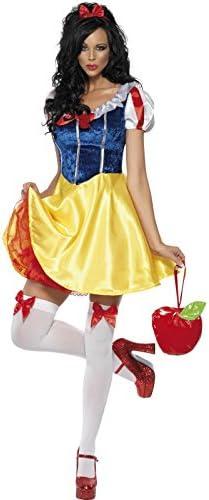 Smiffy's- Blancoanieves Disfraz Fever de cuento de hadas, con vestido, enagua adjunta, banda para el pelo, Amarillo/Azul, XS