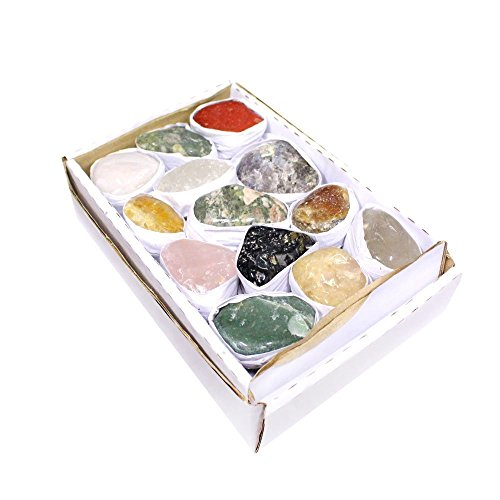 Natural and Dyed Tumbled Gemstone Mix 1.5-2 lbs Full Box Approx. 10-15 pieces - Mixed Tumbled Gemstones - Rock Paradise Exclusive - Usa Rock Glass 2 Piece