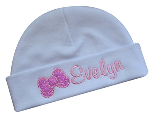 Funny Girl Designs Personalized Embroidered Baby Girl Hat With Sparkling Glitter Bow With Custom Name (White & Pink)
