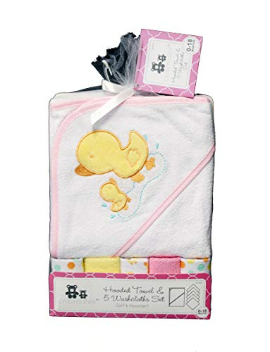 Hooded Towel and 5 Washcloths Bath Set - White Duck Polka Dots Baby Shower Gift (Pink)