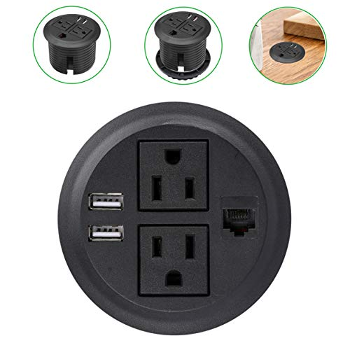 Desktop Hidden Power Grommet with 2 Power Socket & 2 USB Charging Ports and Network Interface.Desk Power Grommet with 10Ft Heavy Duty Extension Cord and Network Cable, Easy Mounting