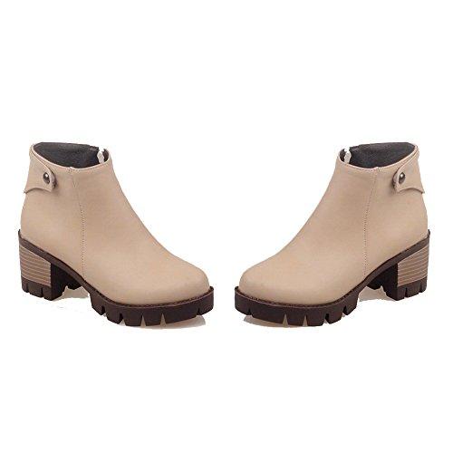 Boots Solid Zipper Ankle Heels Women's WeiPoot apricot Kitten PU high qp8wnfU