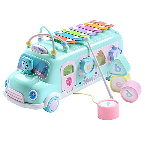callm Hand Knock Piano Pull Musical Instrument Early Educational Learning Music Rainbow Piano Car Toy (Green)