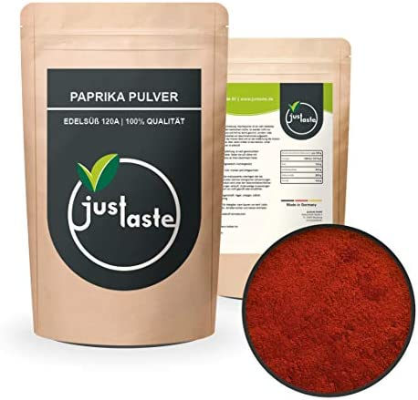 justaste 2 kg Paprika Pulver edelsüß | 120A Qualität | Paprika Pulver 100% Qualität | Delikatess Paprika | Made in Germany