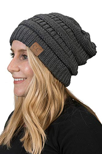 Funky Junque H-6020a-70 Solid Ribbed Beanie - Charcoal