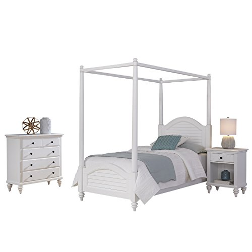 Bermuda White Canopy Twin Bed with Night Stand and Chest by Home Styles