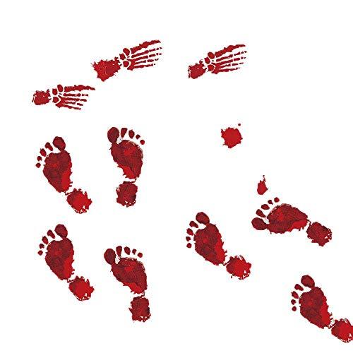 Yevison 4PCS Bloody Handprint Footprint Halloween Window Clings