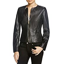 BOSS Hugo Boss Womens Sarena Leather Accent Zippers Motorcycle Jacket