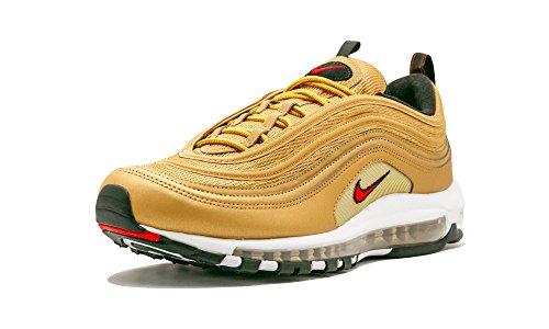 NIKE AIR MAX 97 OG QS Mens Fashion-Sneakers 884421-700_8.5 - Metallic Gold/Varsity RED-White-Black