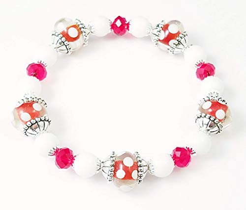 - Handmade Beaded Stretch Bracelet, Red and White Polka Dots, Lampwork Glass Beads