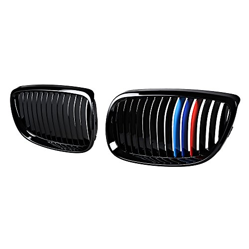 Astra Depot Kidney Grille Compatible for BMW 3-Series 07-10 E92 Coupe E93 Convertible 08-13 M3 2DR (Single Line, Glossy Black M Color) ()