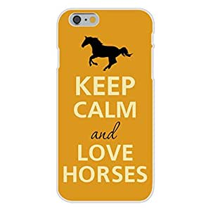 Apple iPhone 6 Custom Case White Plastic Snap On - Keep Calm and Love Horses Running Silhouette by ruishername