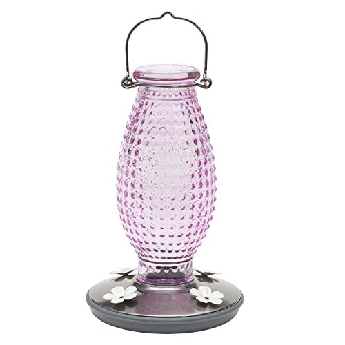 Perky Pet 8131-2 Cranberry Hobnail Vintage Glass Hummingbird Feeder