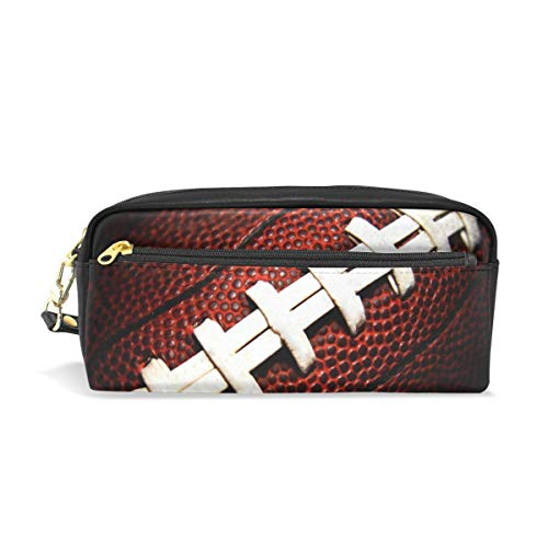 Pencil Case Big Capacity Pencil Bag Makeup Pen Pouch American Football Close Up Durable Students Stationery Pen Holder for School/Office]()