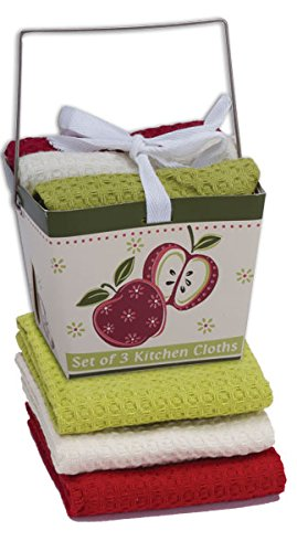 3pc Dishcloth Sets, 13-inch By 13-inch, in Chinese Takeout Boxes (Apple Season)