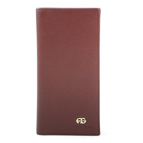 Genuine Long Bi Wallet Fine Gvani Leather Men's fold Grain Brown Anais 6qSOFHE