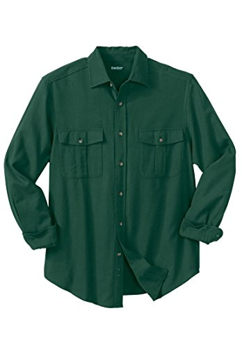 Tall Solid Double-Brushed Flannel Shirt, Hunter Tall-7Xl ()