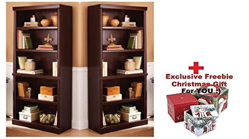 Better Homes and Gardens Ashwood Road Shelf Bookcase, Multiple Finishes, Set of 2, Cherry (5-Shelf) + Exclusive Freebie for You! from Better Homes & Gardens