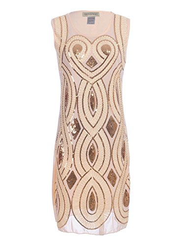 Anna-Kaci Womens Floral Sequin Art Deco Sleeveless 1920s Flapper Inspired Dress, Beige, Small